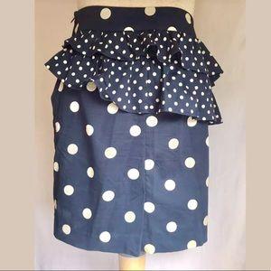 H&M Navy Blue Polka Dot Ruffle Peplum Skirt